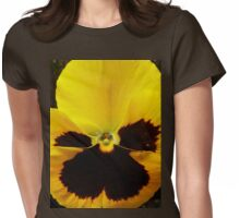 Golden Black Eyed Pansy Violet Yellow Flower Womens Fitted T-Shirt