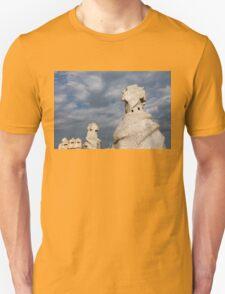 Whimsical Chimneys - Antoni Gaudi's Casa Mila Rooftop T-Shirt
