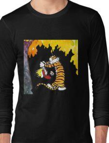 Calvin and Hobbes Playing  Long Sleeve T-Shirt