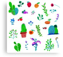 Plant stickers Canvas Print