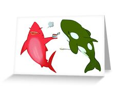 Green Orca and Shark and Black Cats Greeting Card