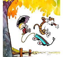 Calvin and Hobbes Playing Water Photographic Print