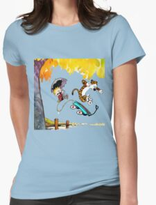 Calvin and Hobbes Playing Water Womens Fitted T-Shirt