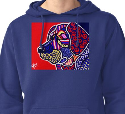 The Peace Keeper Designer Dog Design Retriever Hunting Chesapeake Puppy Peace Sign Peaceful Fun Bright Colorful Art Lab  Pullover Hoodie