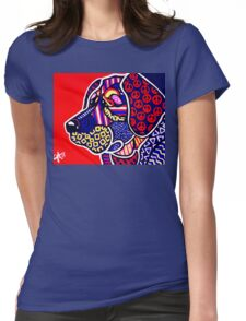 The Peace Keeper Designer Dog Design Retriever Hunting Chesapeake Puppy Peace Sign Peaceful Fun Bright Colorful Art Lab  Womens Fitted T-Shirt