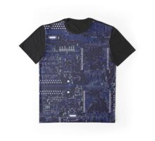 Circuit Board Blue Graphic T-Shirt