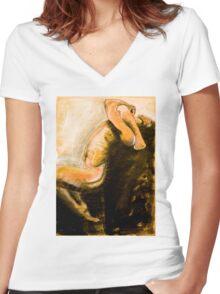 Männlicher Akt, tanzend Women's Fitted V-Neck T-Shirt