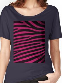 Pink Leather skin of zebra patterned background Women's Relaxed Fit T-Shirt