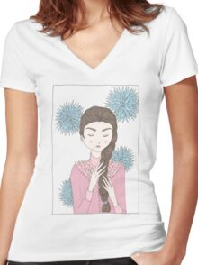Floral Girl II Women's Fitted V-Neck T-Shirt