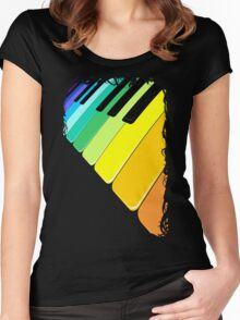Piano Keyboard Rainbow Colors  Women's Fitted Scoop T-Shirt