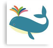 Rainbow whale Canvas Print