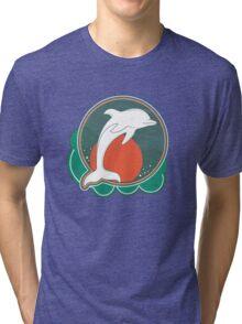 Dolphin Moonlight Red Tri-blend T-Shirt