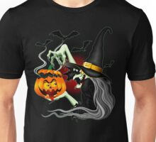 Witch with Jack O'Lantern and Bats Unisex T-Shirt