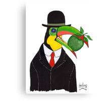 Toucan With Bowler Hat and Apple Canvas Print