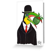 Toucan With Bowler Hat and Apple Greeting Card