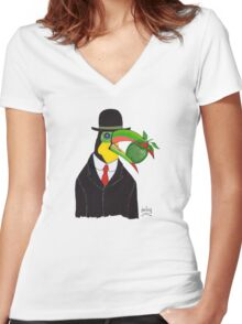 Toucan With Bowler Hat and Apple Women's Fitted V-Neck T-Shirt