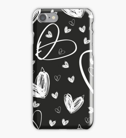 hand drawn white hearts iPhone Case/Skin