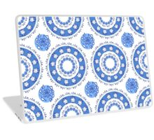 round blue ornament with flowers and natural elements Laptop Skin