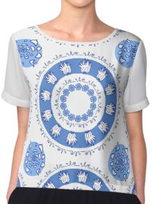 round blue ornament with flowers and natural elements Chiffon Top