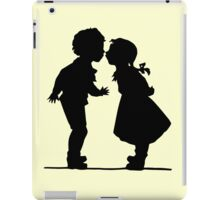 Vintage romantic silhouette couple boy and girl  iPad Case/Skin