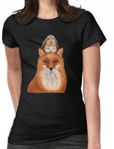 Fox with rabbit - best friends! Womens Fitted T-Shirt