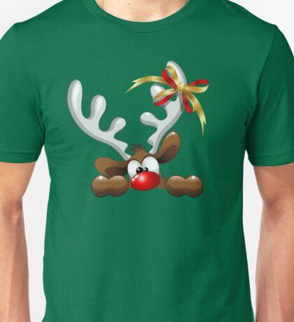 Funny Christmas Reindeer Cartoon Unisex T-Shirt