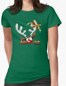 Funny Christmas Reindeer Cartoon Womens Fitted T-Shirt