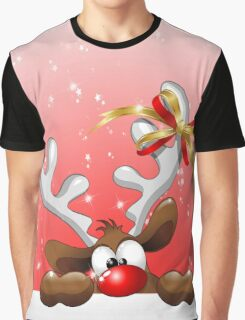 Funny Christmas Reindeer Cartoon Graphic T-Shirt