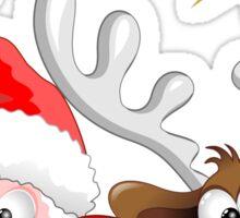 Funny Christmas Santa and Reindeer Cartoon Sticker