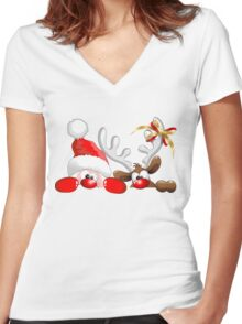 Funny Christmas Santa and Reindeer Cartoon Women's Fitted V-Neck T-Shirt
