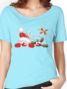 Funny Christmas Santa and Reindeer Cartoon Women's Relaxed Fit T-Shirt