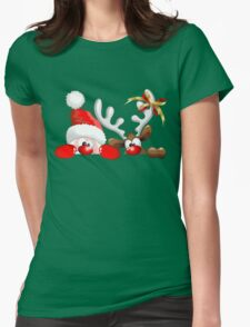 Funny Christmas Santa and Reindeer Cartoon Womens Fitted T-Shirt