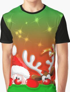 Funny Christmas Santa and Reindeer Cartoon Graphic T-Shirt
