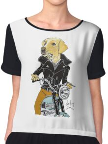 Dog James Dean on a Vintage Triumph Chiffon Top