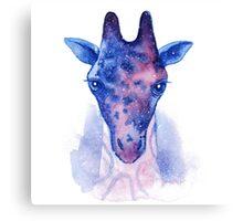 Giraffe head with cosmic pattern watercolor illustration. Canvas Print