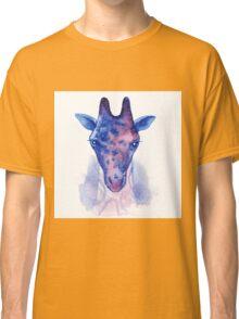 Giraffe head with cosmic pattern watercolor illustration. Classic T-Shirt