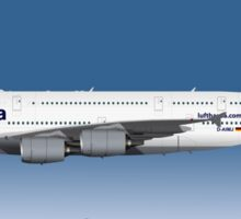 Illustration of Lufthansa Airbus A380 - Blue Version Sticker