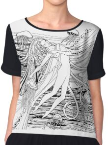 Woman with jellyfish into the ocean. Beautiful girl and waves and space universe. Mermaid.  Chiffon Top