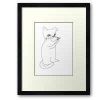 Abstract portrait of smoking cat. Framed Print
