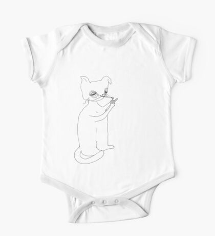 Abstract portrait of smoking cat. One Piece - Short Sleeve