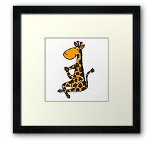 Cool Funny Funky Giraffe doing Yoga Framed Print