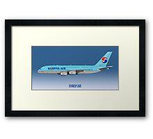 Illustration of Korean Air Airbus A380 - Blue Version Framed Print