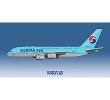 Illustration of Korean Air Airbus A380 - Blue Version Photographic Print