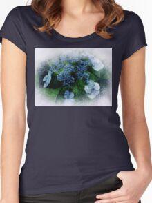 Blue Hydrangea - Watercolor effect Women's Fitted Scoop T-Shirt
