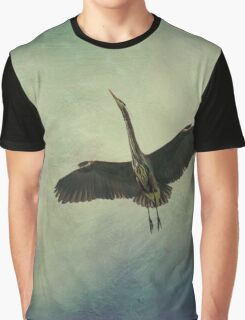Great Blue Heron in the Night Sky Graphic T-Shirt