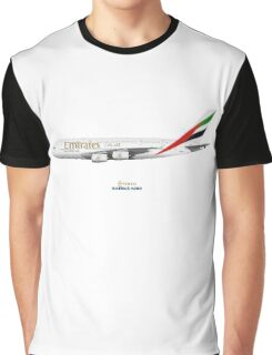 Illustration of Emirates Airbus A380 - White Version Graphic T-Shirt