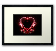flying heart on a dark background.  Framed Print