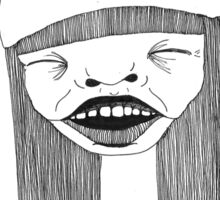 Abstract portrait, laughing. Sticker