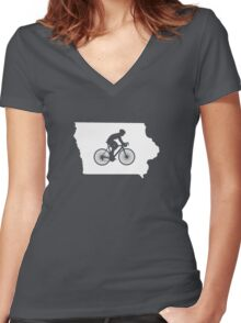 Iowa Bike IA  Women's Fitted V-Neck T-Shirt