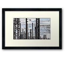 wires industrial landscape Framed Print